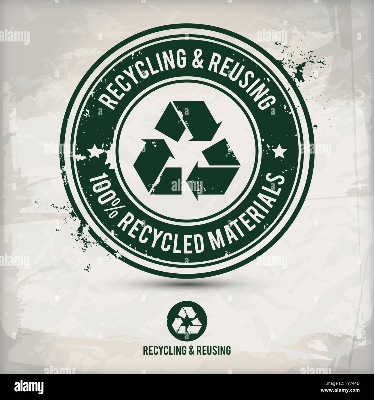 D'autres timbres de recyclage sur fond texturé, qui est fait de plusieurs couches transparentes pour un Photo Stock
