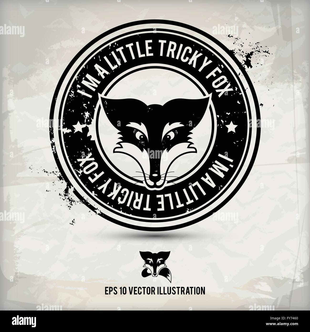 Autre label Black Fox / stamp sur fond texturé, qui est fait de plusieurs couches transparentes d'un usé, Photo Stock