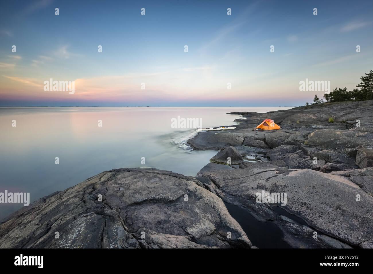 Soirée à Påvskär island, Sunday, la Finlande, l'Europe, l'UNION EUROPÉENNE Photo Stock