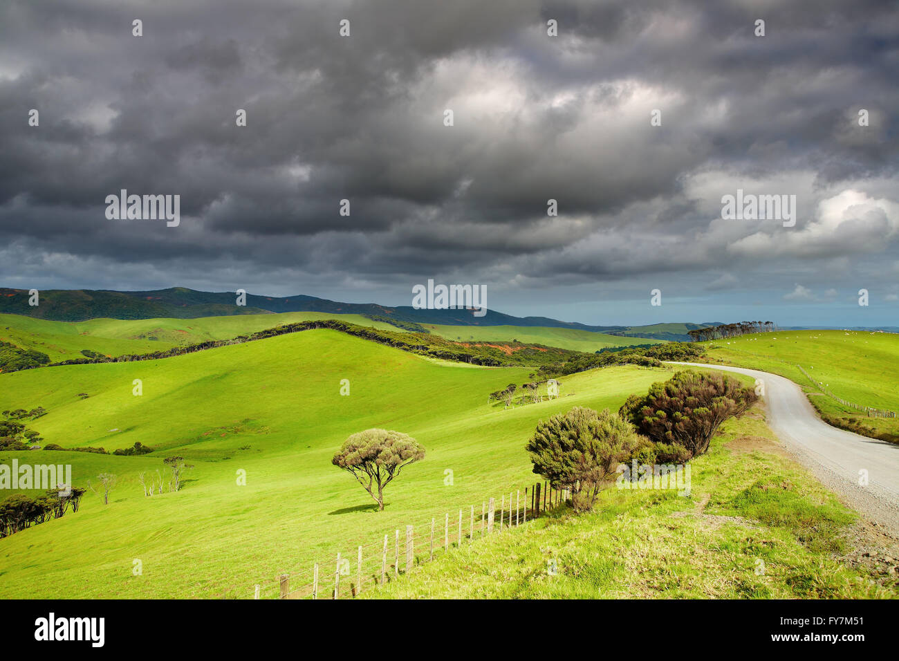 Paysage avec de vertes collines un nuages de tempête Photo Stock