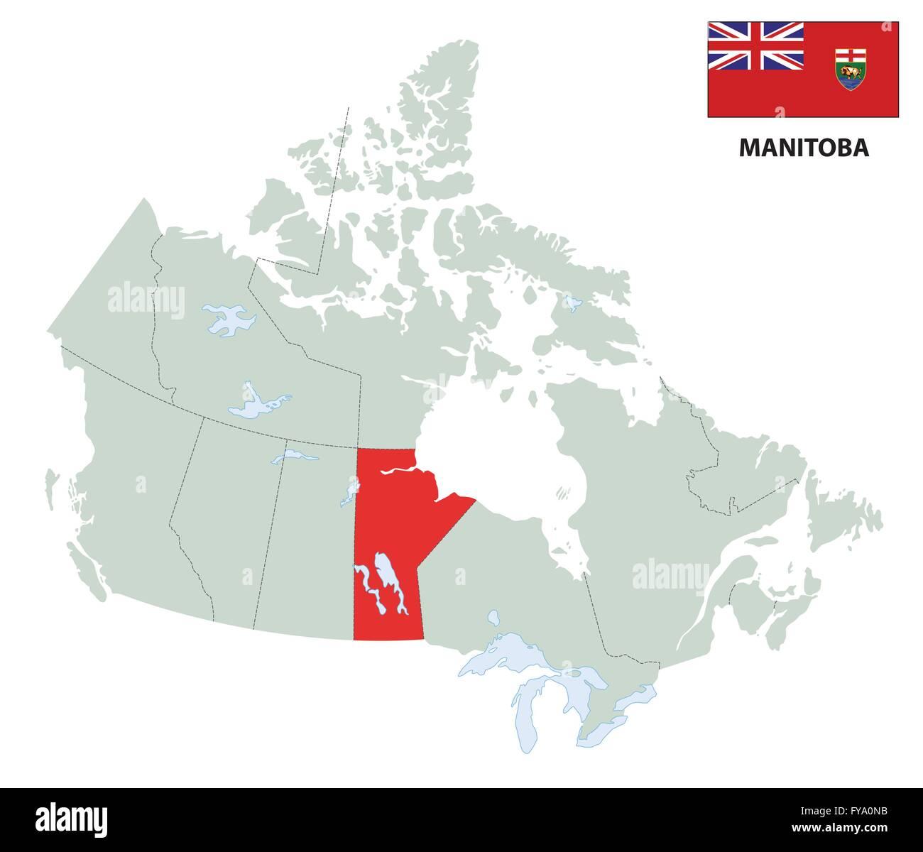 Carte Canada Manitoba.Carte De La Province Du Manitoba Avec Drapeau Canadien Vecteurs Et