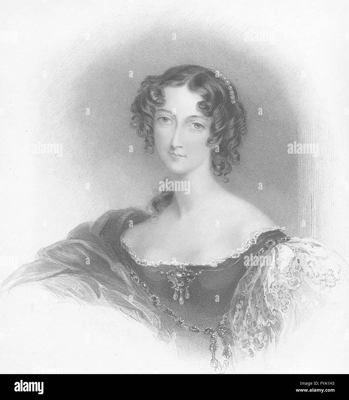 JERSEY: Sarah Sophia Fane-Countess; Handy, antique print 1834 Banque D'Images