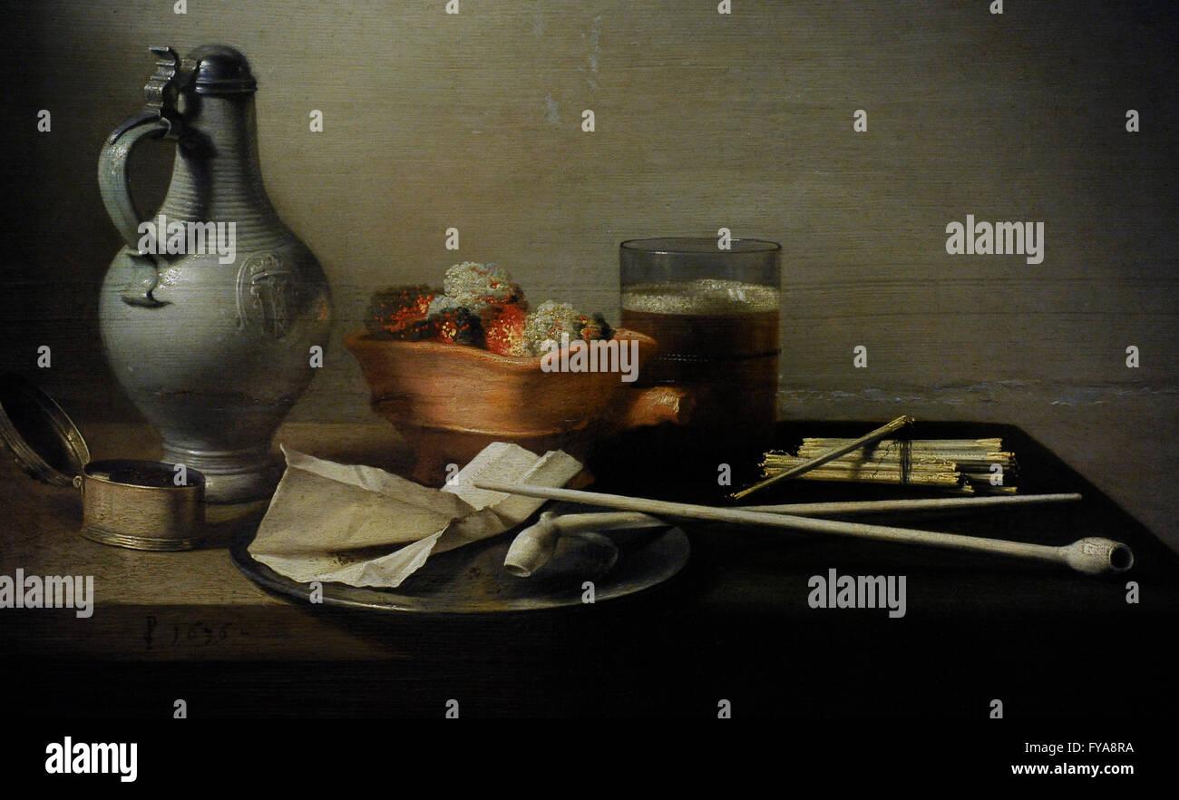 Pieter Claesz, (1597-1660). Peintre hollandais. Nature morte à la Pipe, 1636. Le Musée de l'Ermitage. Photo Stock