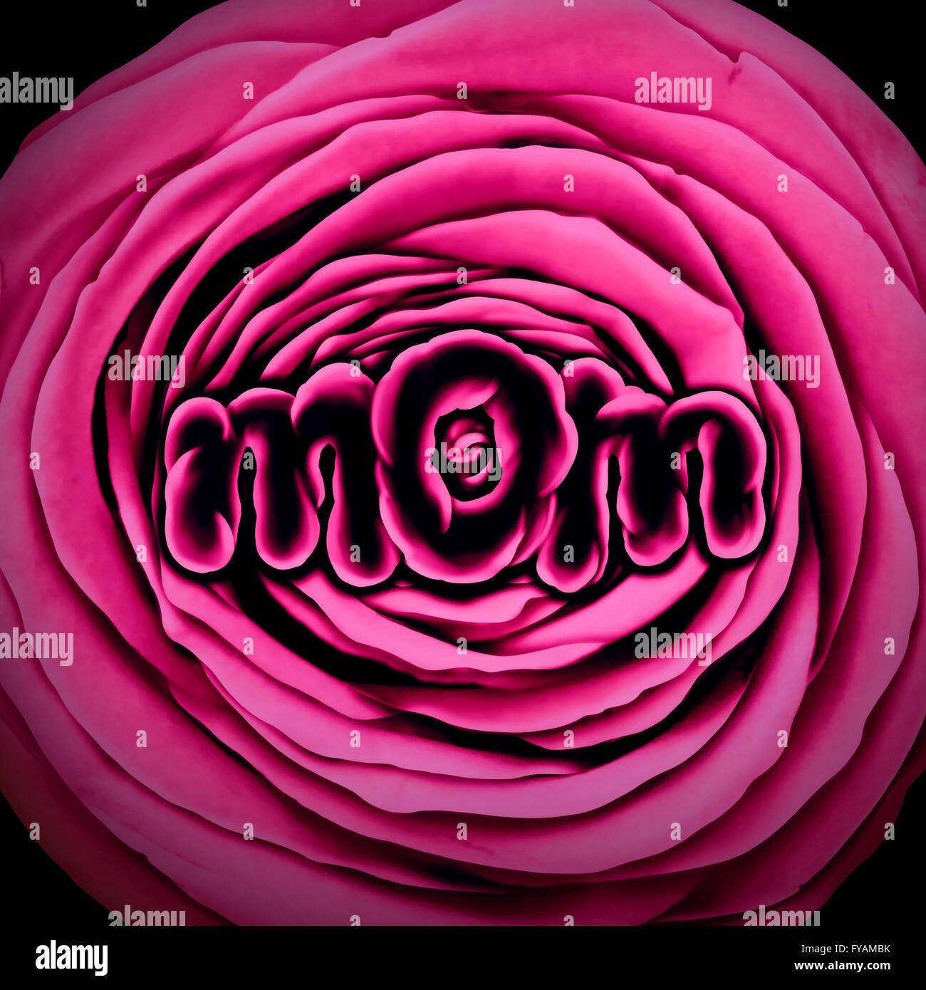 Maman Mère Fleur Avec Une Rose Rose En Forme De Texte Pour