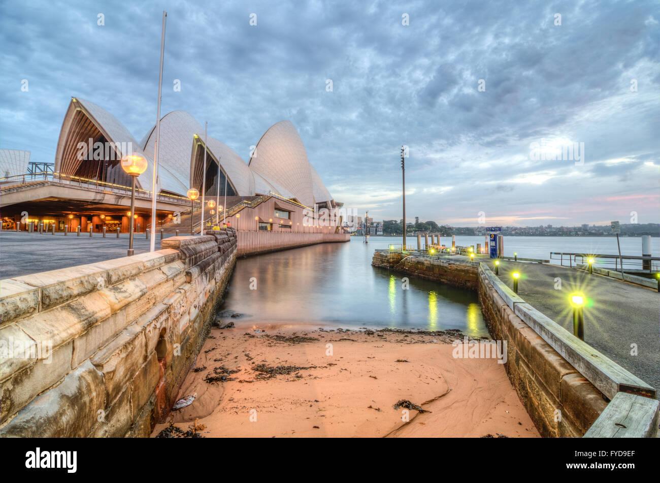 L'Aube à l'Opéra de Sydney Photo Stock