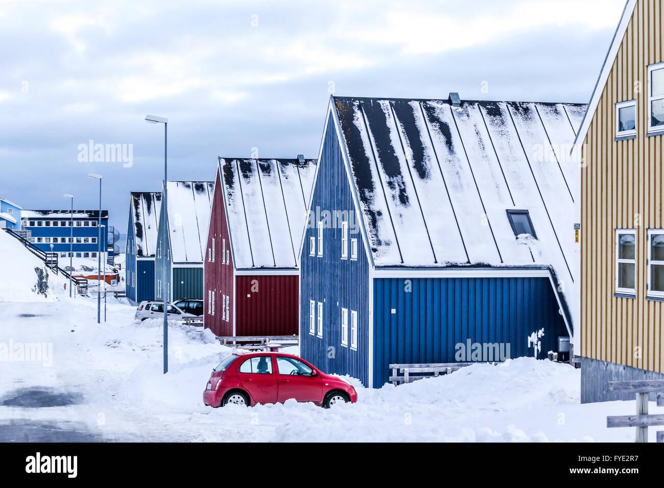 Rue d'hiver dans la capitale de l'Arctique Nuuk, Groenland ville Banque D'Images