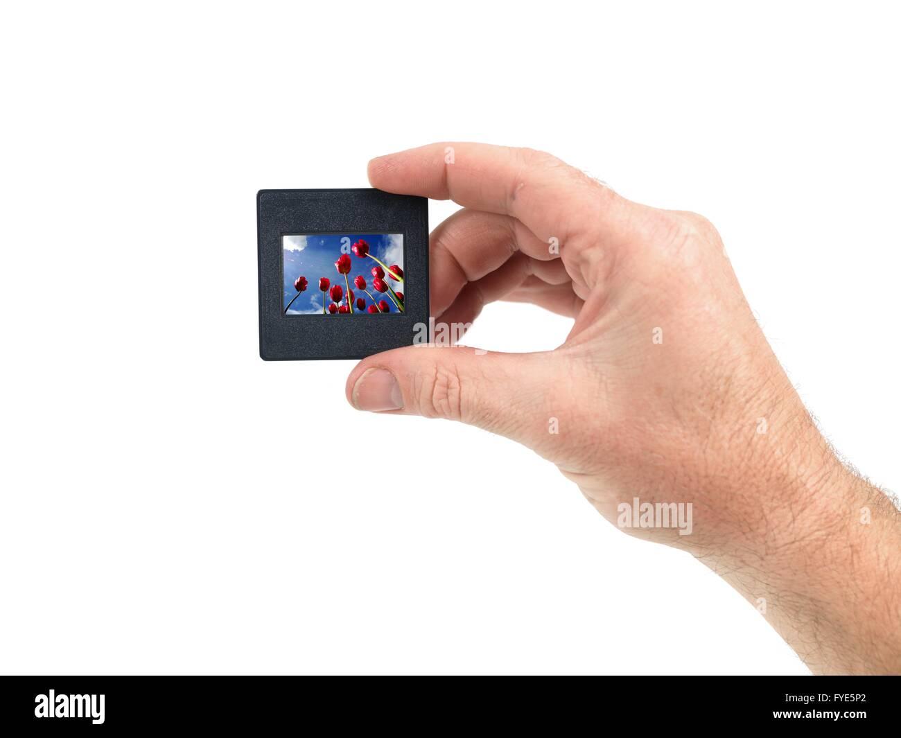 Les diapositives isolé sur fond blanc Banque D'Images