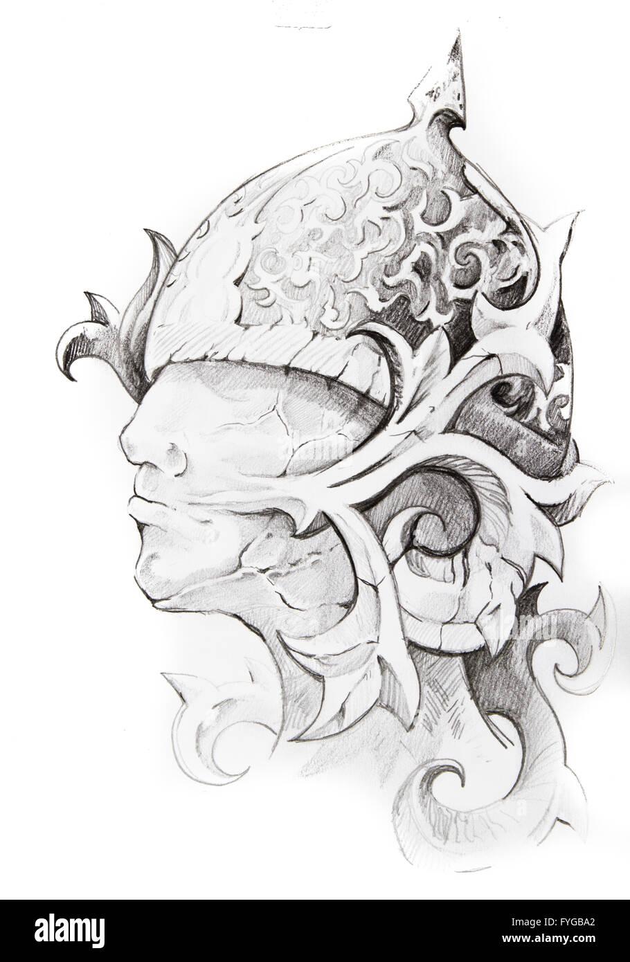 Croquis De Tatouage croquis de tatouage tête de guerrier, fait main banque d'images