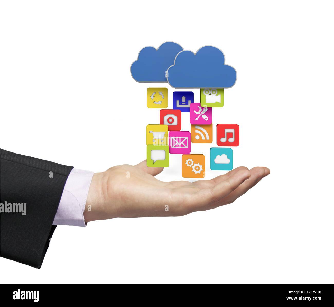 Télécharger des apps depuis le nuage sur une main d'affaires Photo Stock