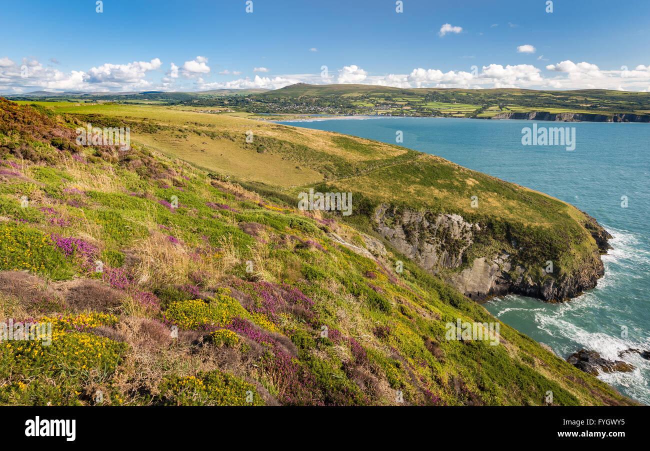 Pen y Bal pointe en direction de Newport et montagnes amenée - Pembrokeshire Photo Stock