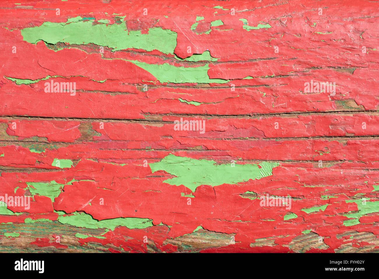 Les planches de bois peintes en rouge et vert Photo Stock
