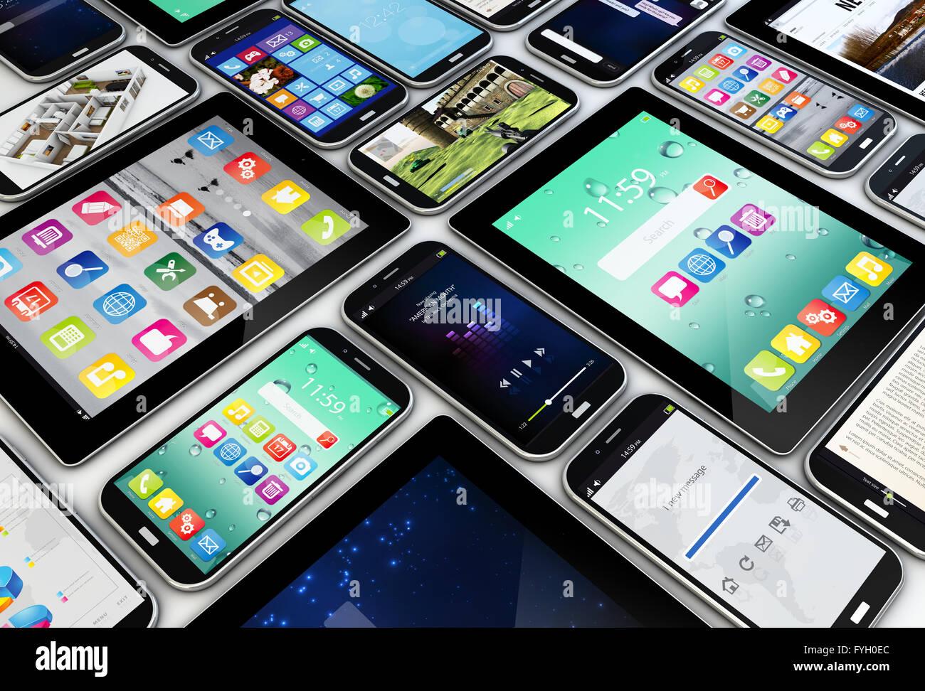 Concept d'applications: un groupe de périphériques mobiles avec des applications sur les écrans Photo Stock