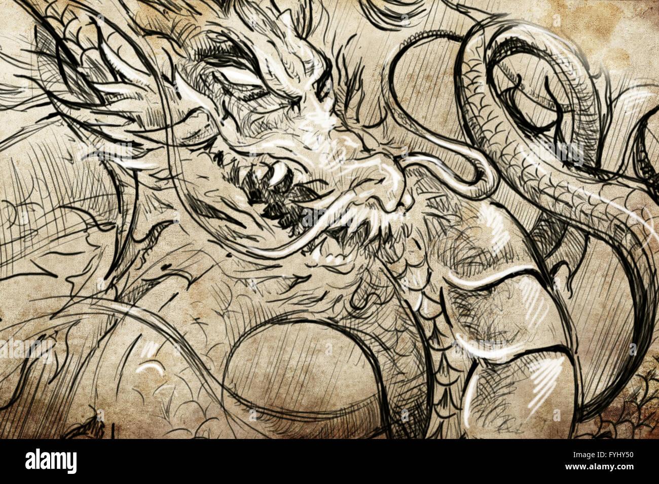 Dessin Tatoo Japonais tête de dragon tattoo japonais, croquis, dessin à la main sur papier