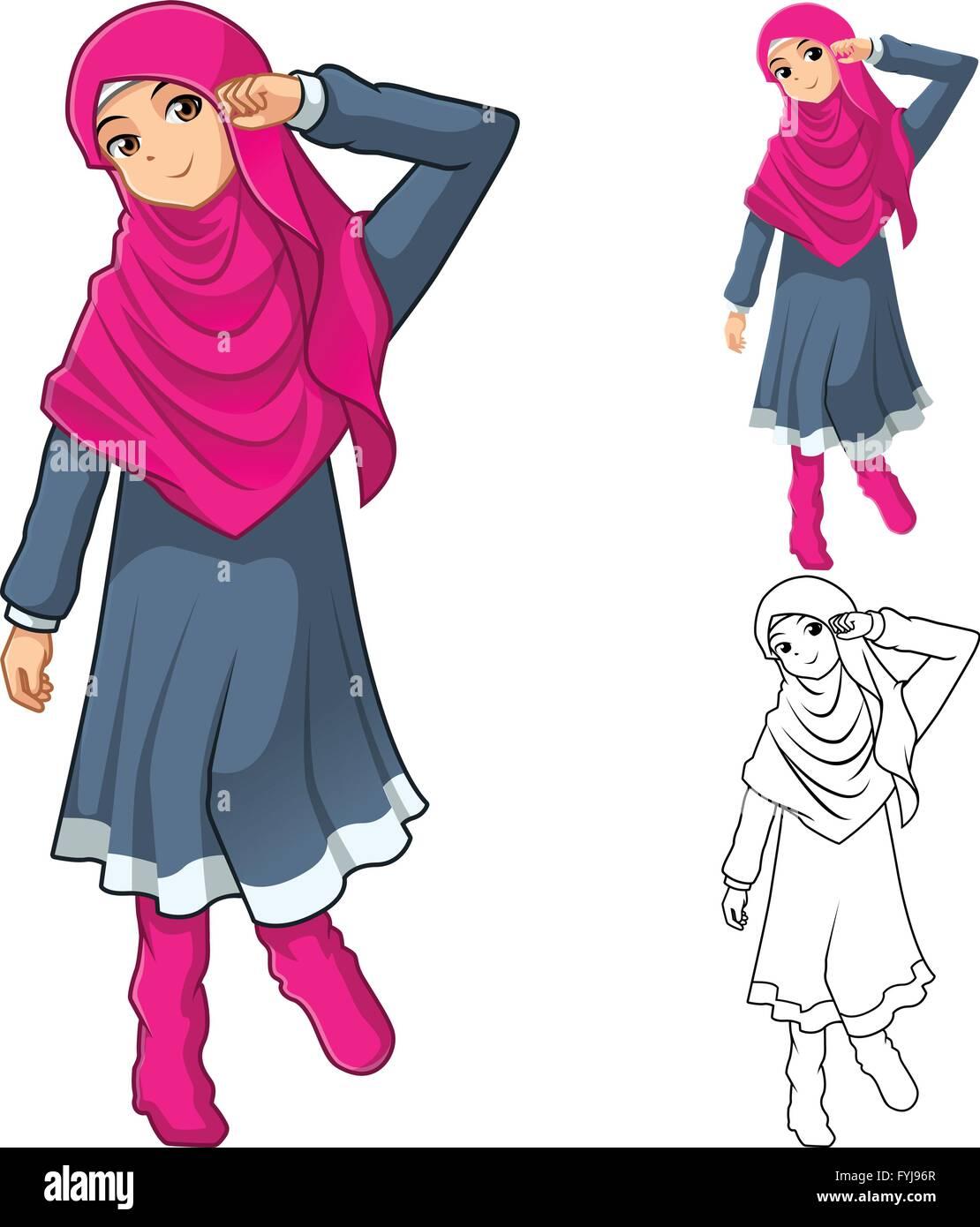 Mode Fille Musulmane Portant Le Voile Ou Un Foulard Rose Robe Et Bottes Avec Television Conception Et Dessin Anime Version Decrit Image Vectorielle Stock Alamy