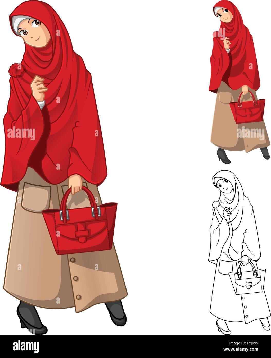 Mode Femme Musulmane Portant Le Voile Ou Un Foulard Rouge A La Detention D Un Sac Television Conception Et Dessin Anime Version Decrit Image Vectorielle Stock Alamy