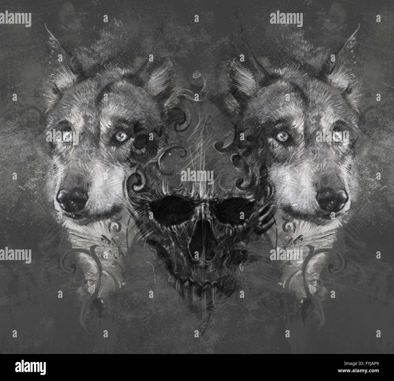 Illustration avec tête de loup. Conception de tatouage sur fond gris. toile texturée. L'image artistique Banque D'Images