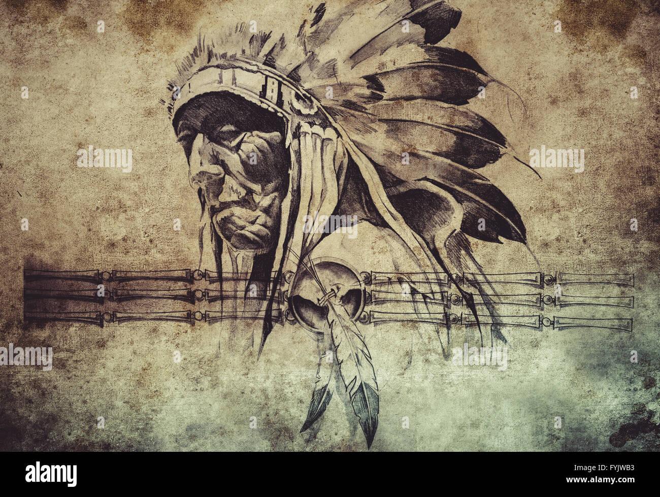 Croquis De Tatouage Tribal Indien Americain Chef Warriors Banque D