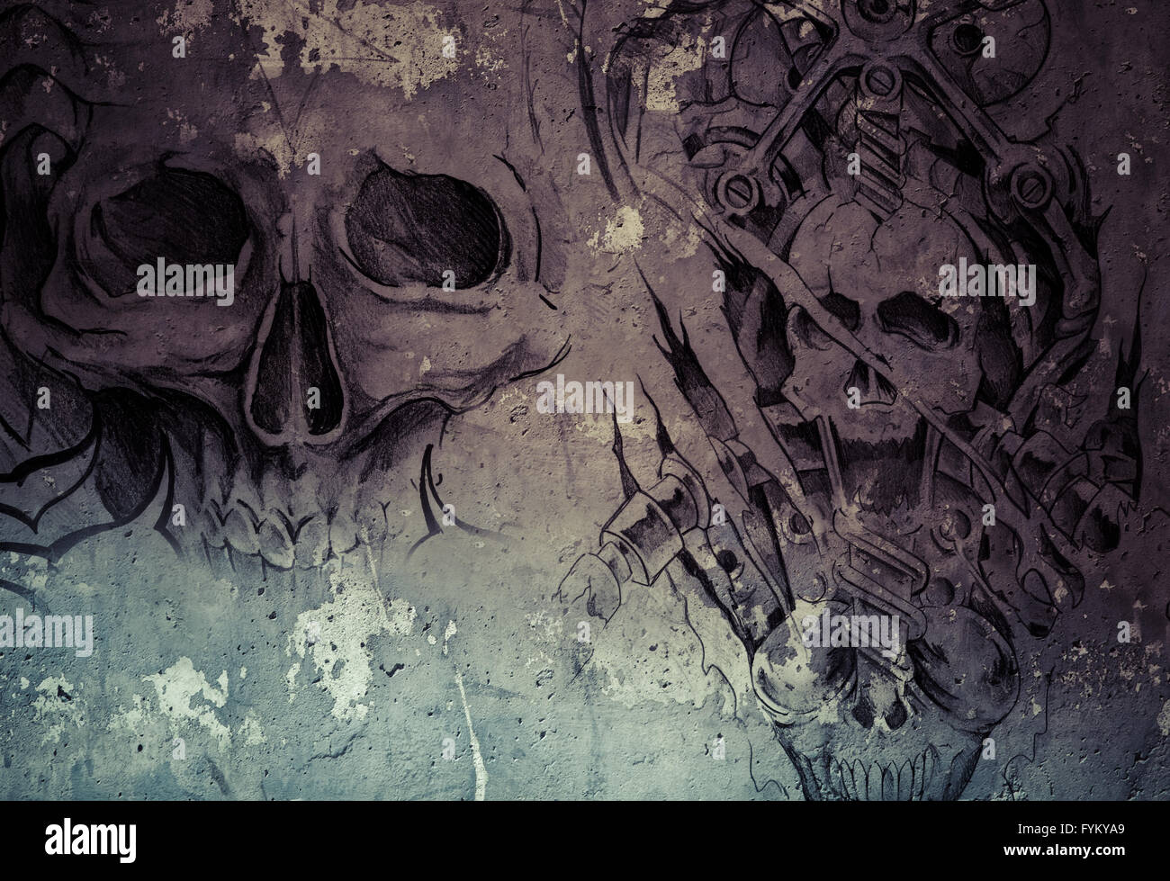 L'art du tatouage,2 démons biomécaniques sur fond gris, Sketch Banque D'Images