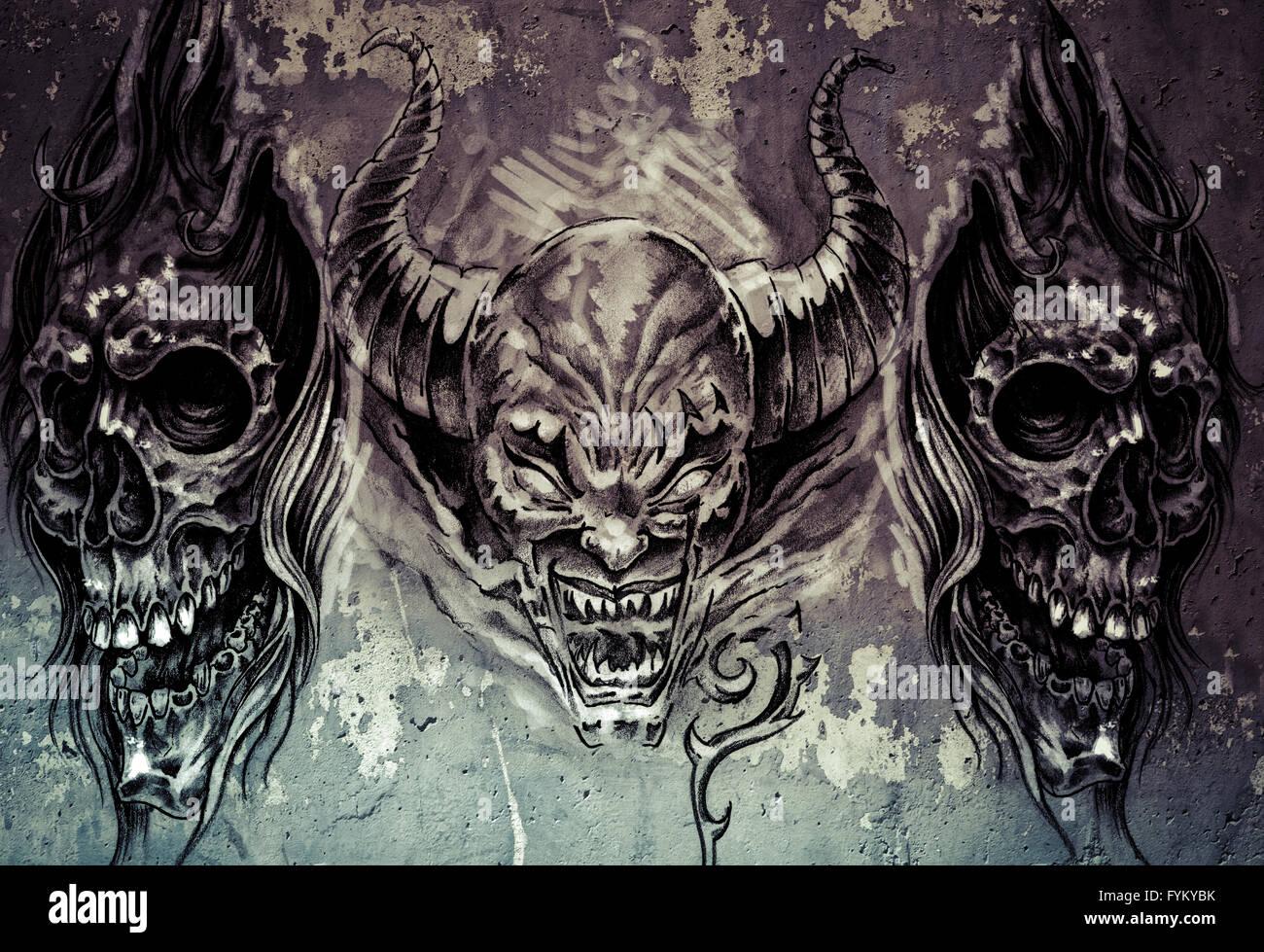 L'art du tatouage, 3 démons sur fond gris, Sketch Banque D'Images
