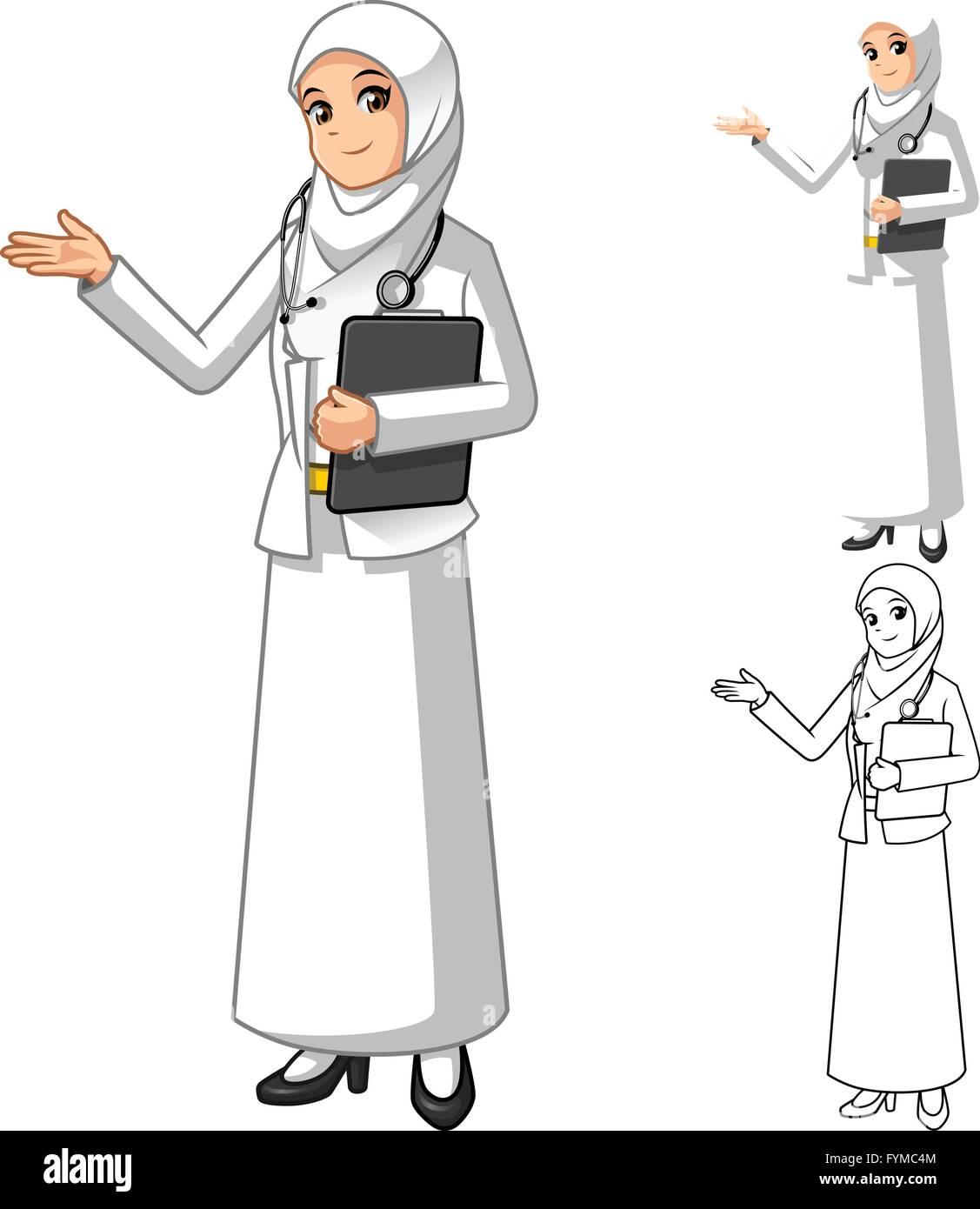 Femme Medecin Musulmane Portant Le Voile Ou Un Foulard Blanc Avec Mains Accueillant Personnage Vector Illustration Image Vectorielle Stock Alamy