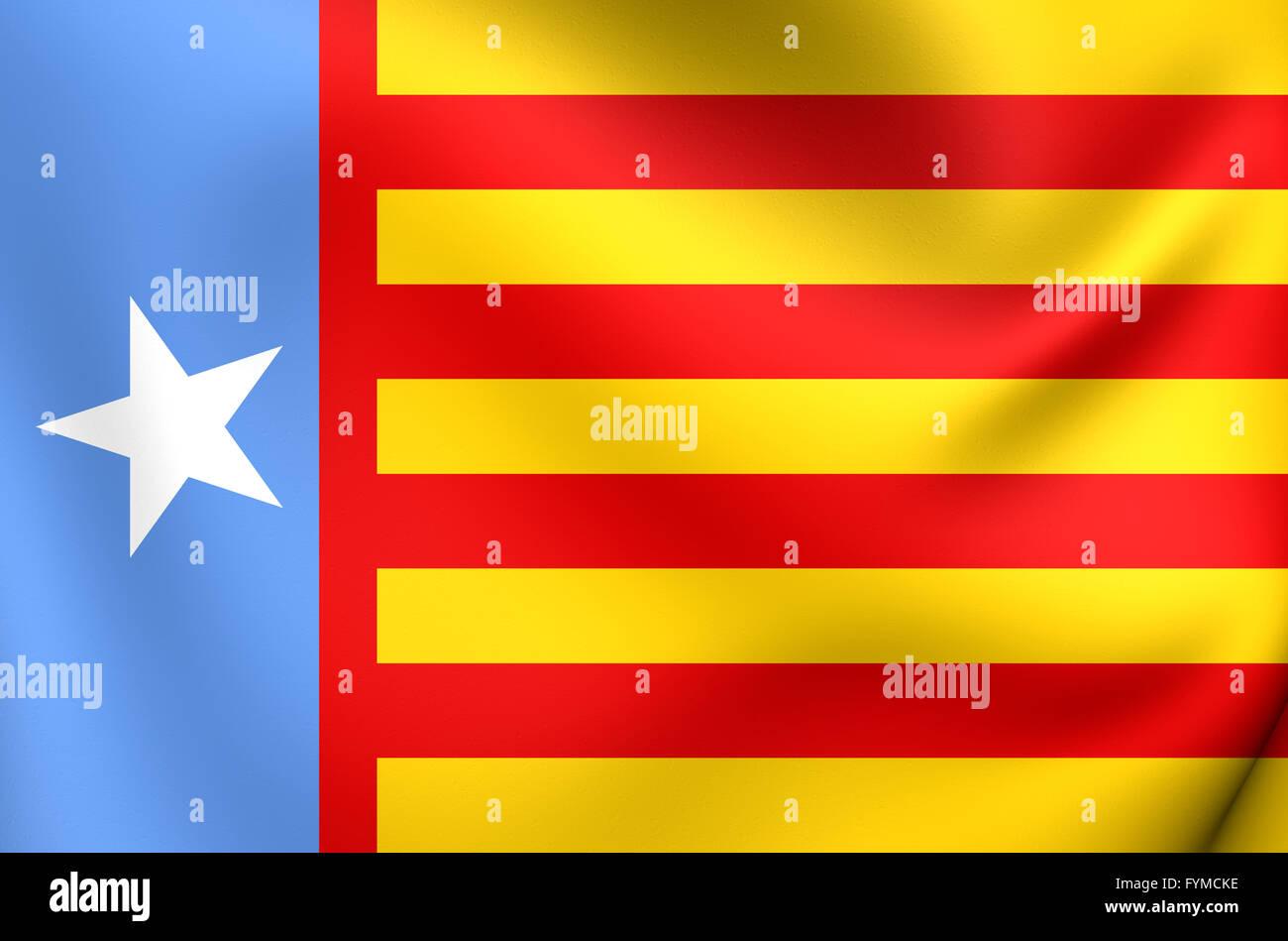 Drapeau de la Communauté Valencienne le nationalisme. Close Up. Photo Stock
