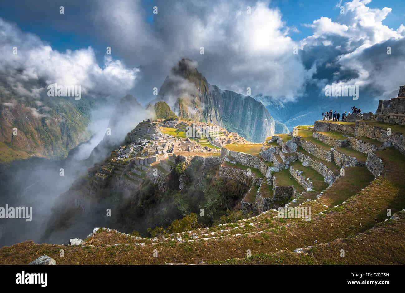 Machu Picchu, Patrimoine Mondial de l'UNESCO. L'une des sept nouvelles merveilles du monde. Photo Stock