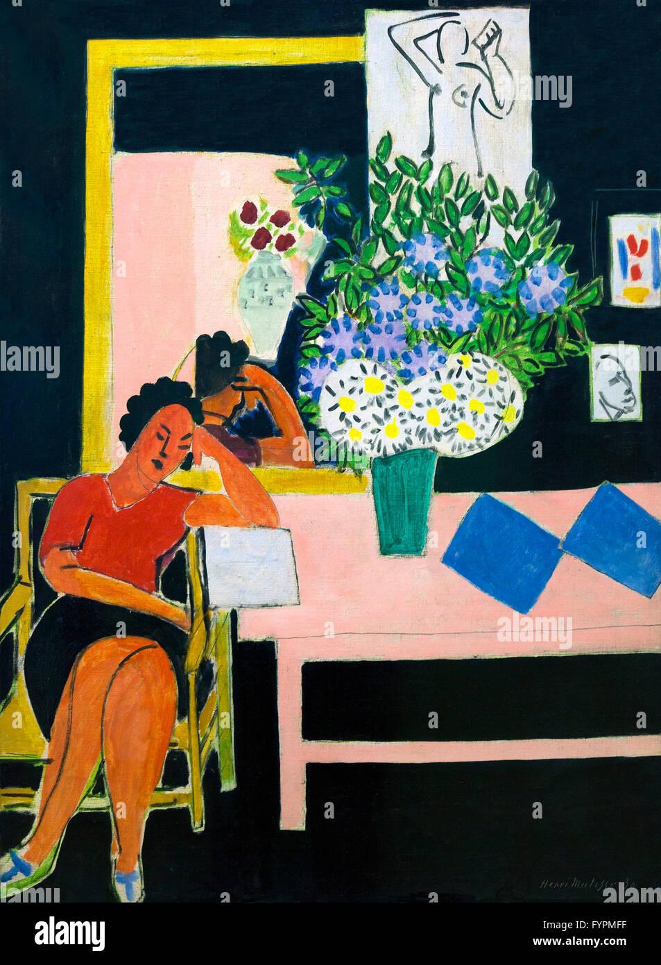 Femme lisant, fond noir, Liseuse sur fond noir, d'Henri Matisse, 1939, Centre Pompidou, Paris, France, Europe Photo Stock