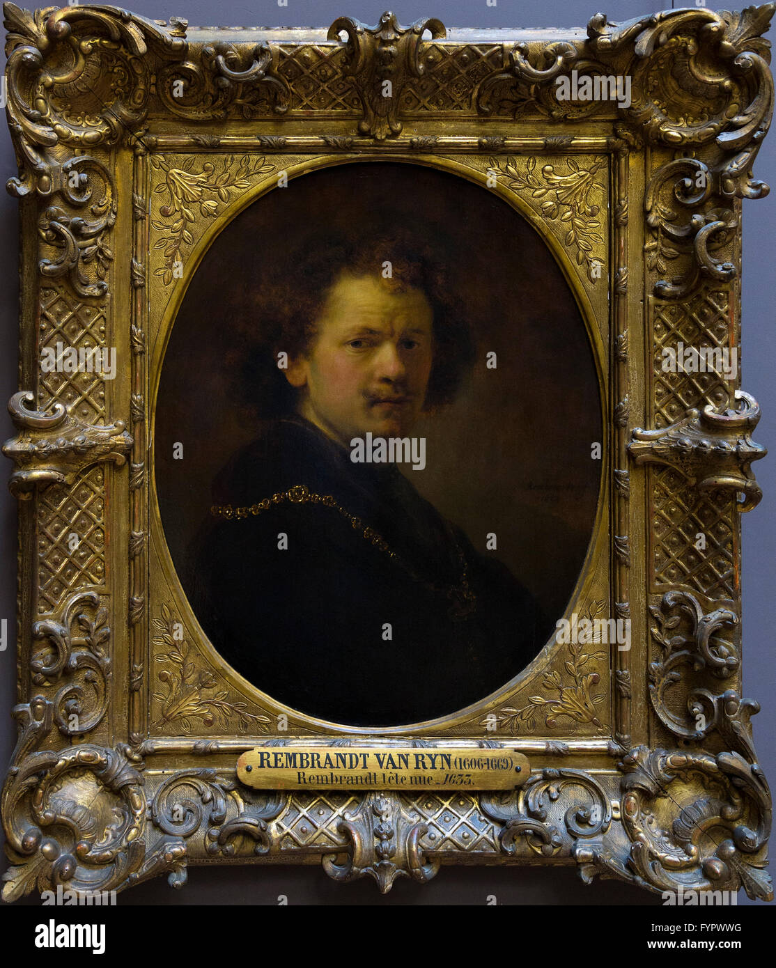 Autoportrait avec tête nue, de Rembrandt, 1633, Musée du Louvre, Paris, France, Europe Photo Stock