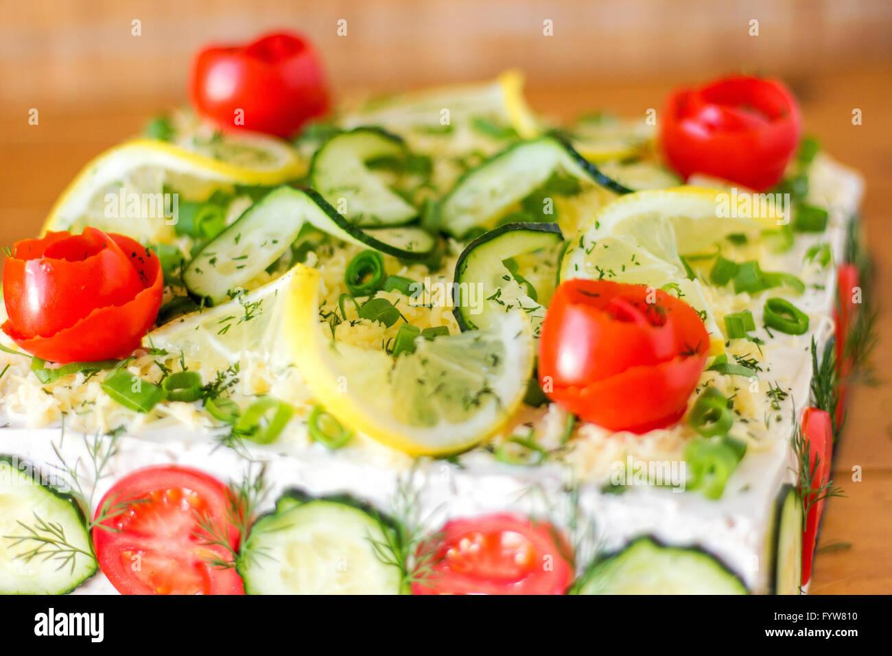 Gâteau Sandwich salés (Smörgåstårta) Photo Stock