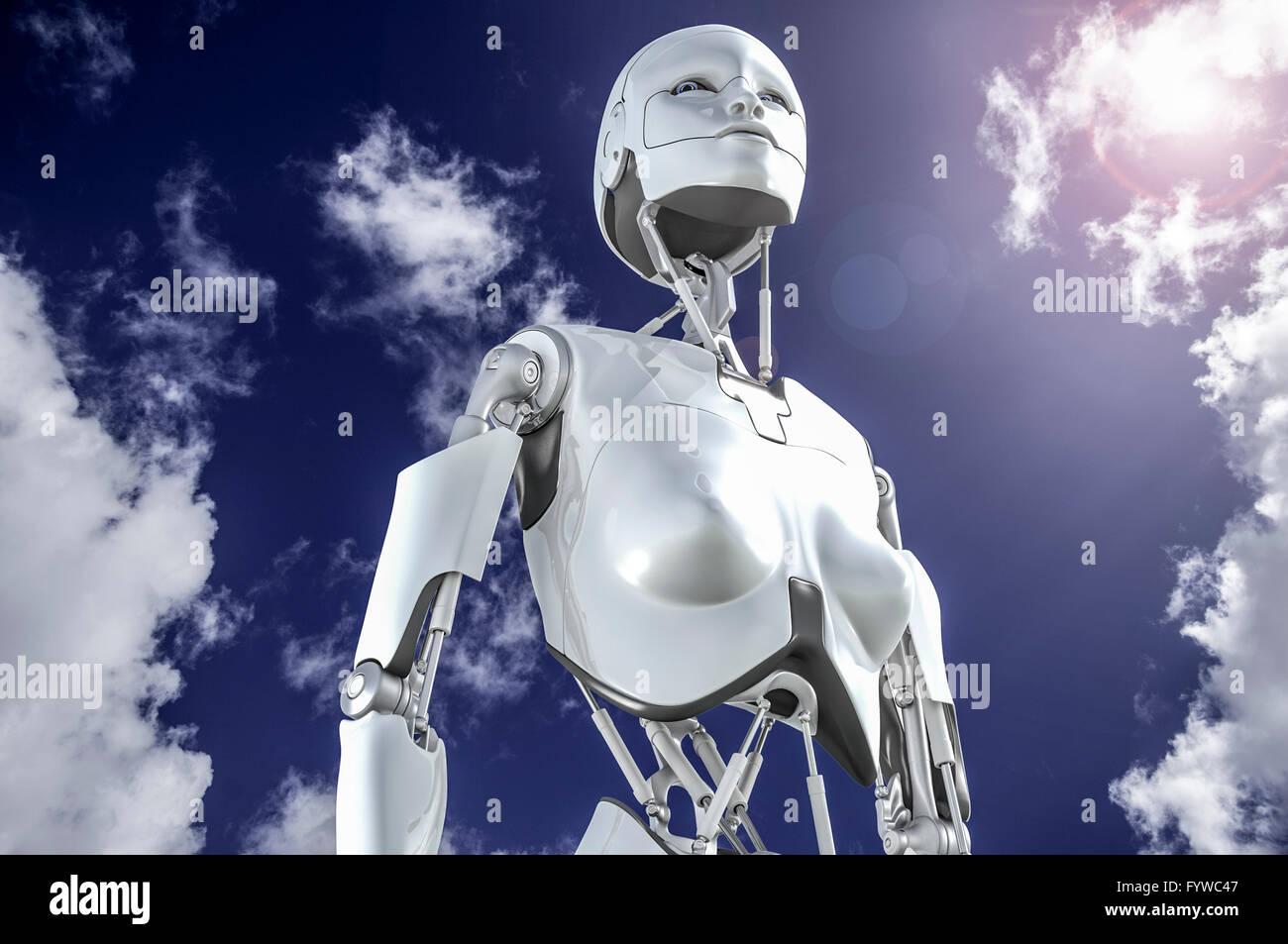 Robot humanoïde femelle à la recherche dans le ciel. Banque D'Images