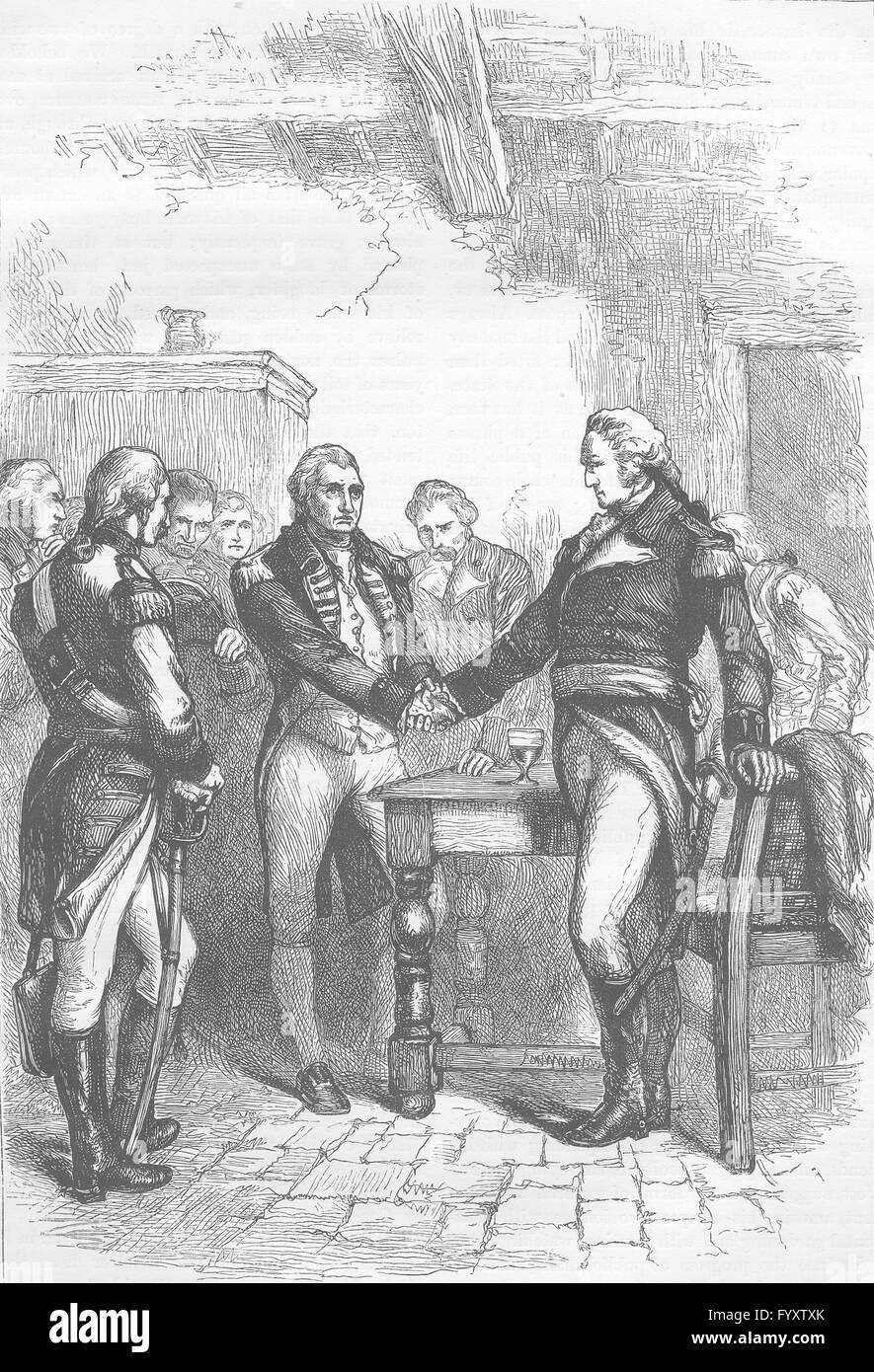 USA: Washington à prendre congé de ses camarades, antique print c1880 Photo Stock