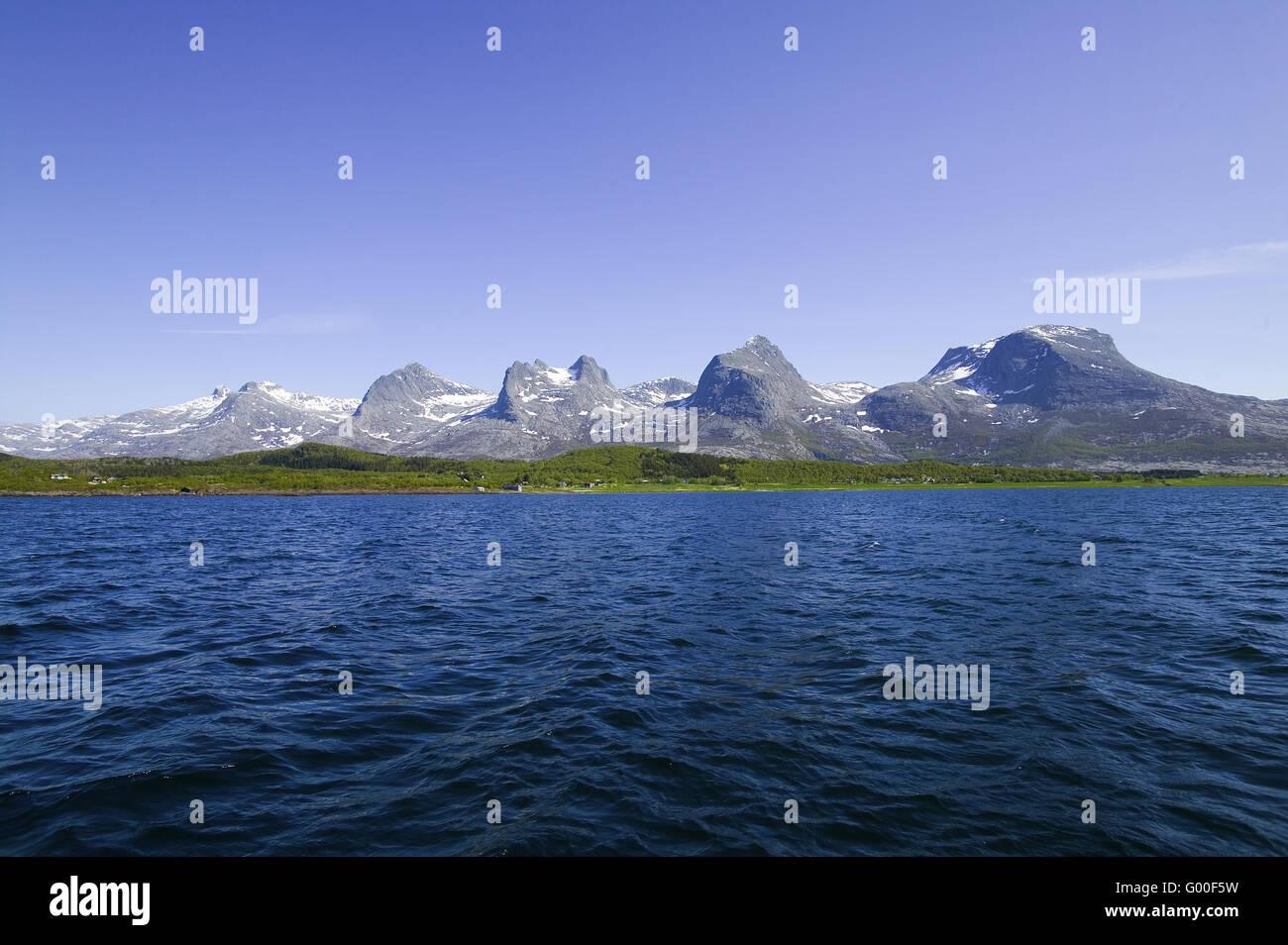 La chaîne de montagne des sept sœurs, Norvège Photo Stock