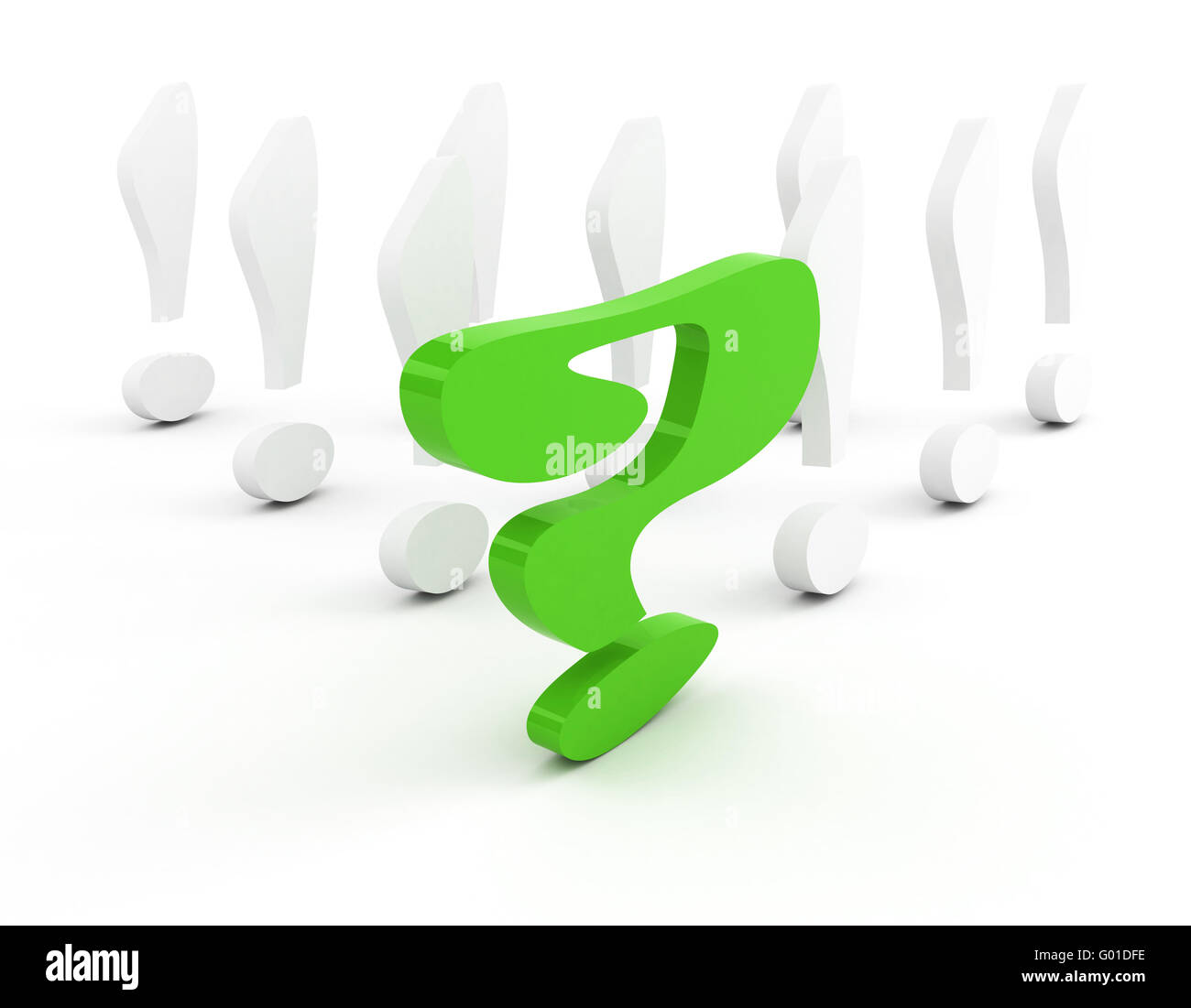 Point d'interrogation vert concept de leadership over white Photo Stock