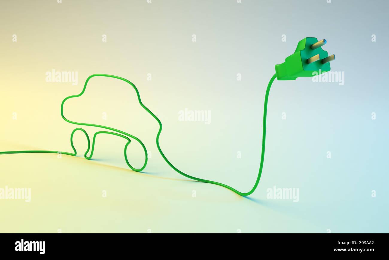 Concept de voiture électrique - prise électrique avec un cordon en forme de voiture. Photo Stock