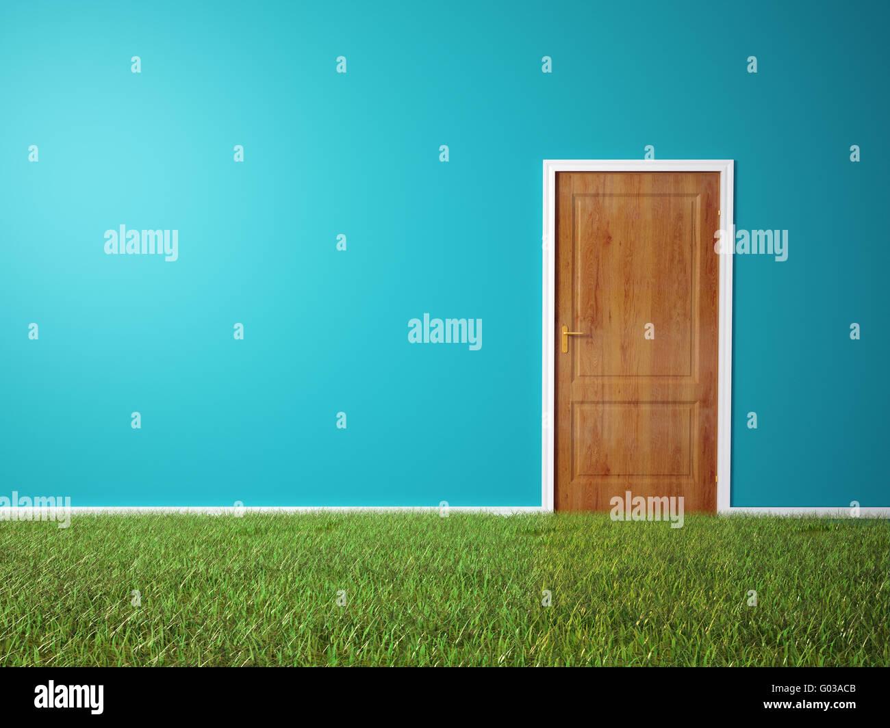 Chambre avec porte en bois et un sol couvert d'herbe Photo Stock