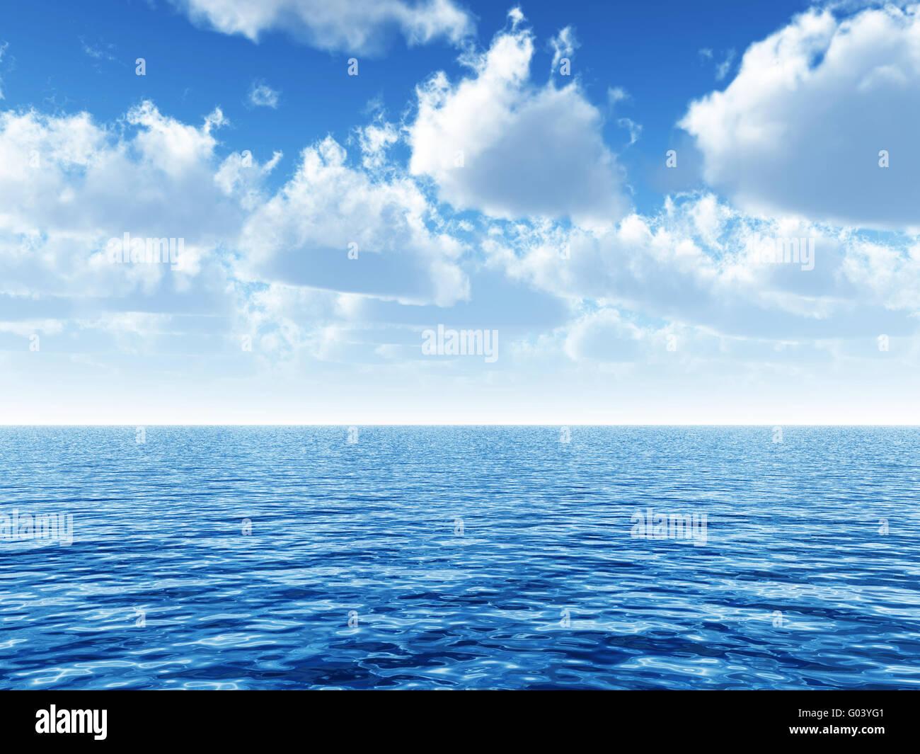 Ciel nuageux Ciel bleu laissant pour horizon au-dessus d'un blue s Photo Stock