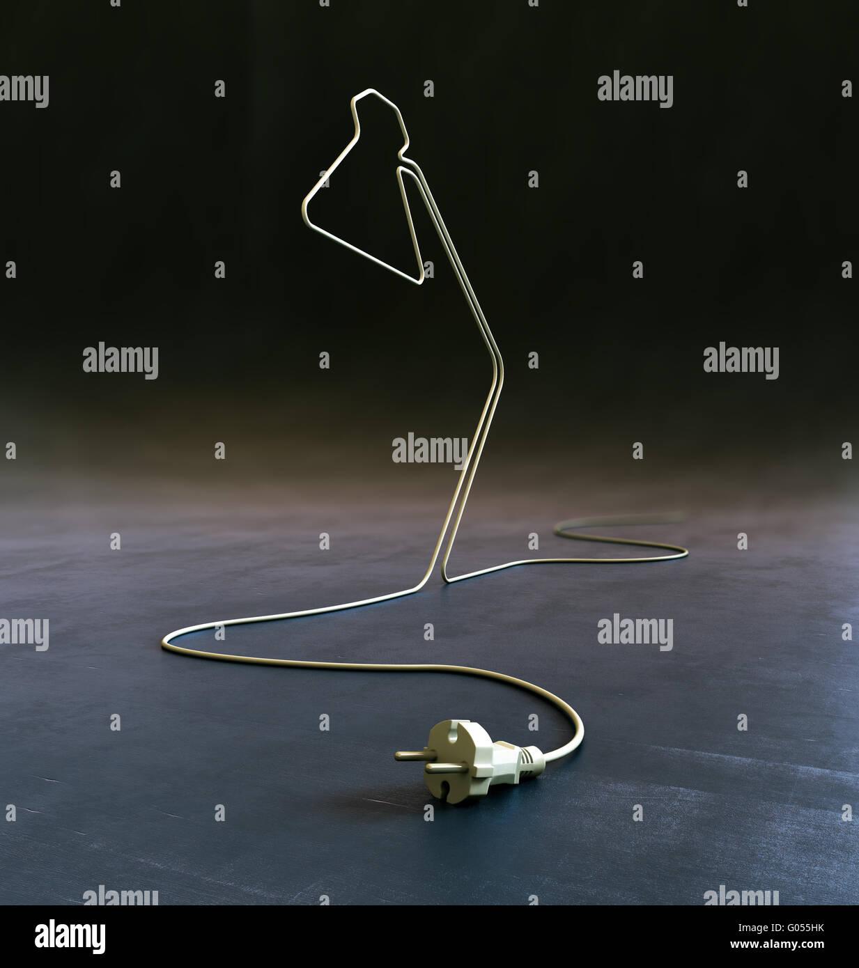 Lampe en forme de cordon électrique - énergie et créativité concept Photo Stock