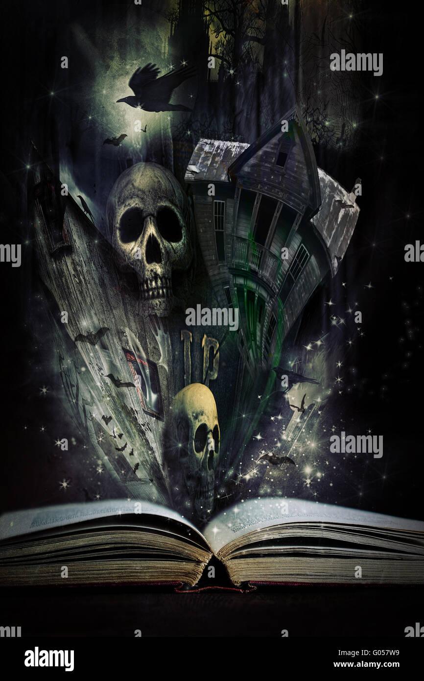 Livre d'histoire ouvert avec des histoires d'Halloween aliv à venir Banque D'Images