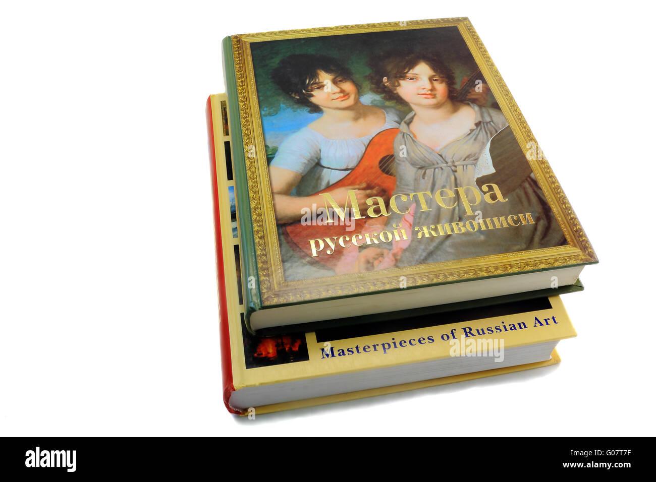 Deux livres sur la peinture sur un fond blanc Photo Stock