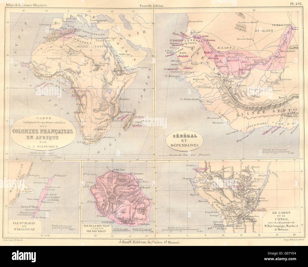 Afrique Sénégal Sainte Marie Madagascar La Réunion 1884 Carte