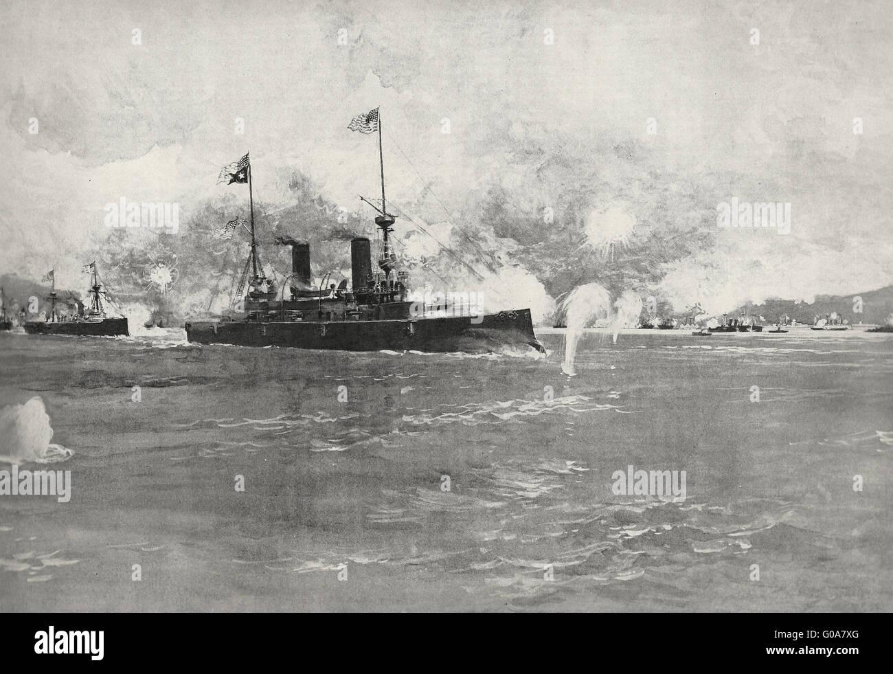 La bataille de Manille - l'Escadre de l'amiral Dewey se balançant autour de l'Ellipse, au cours Photo Stock