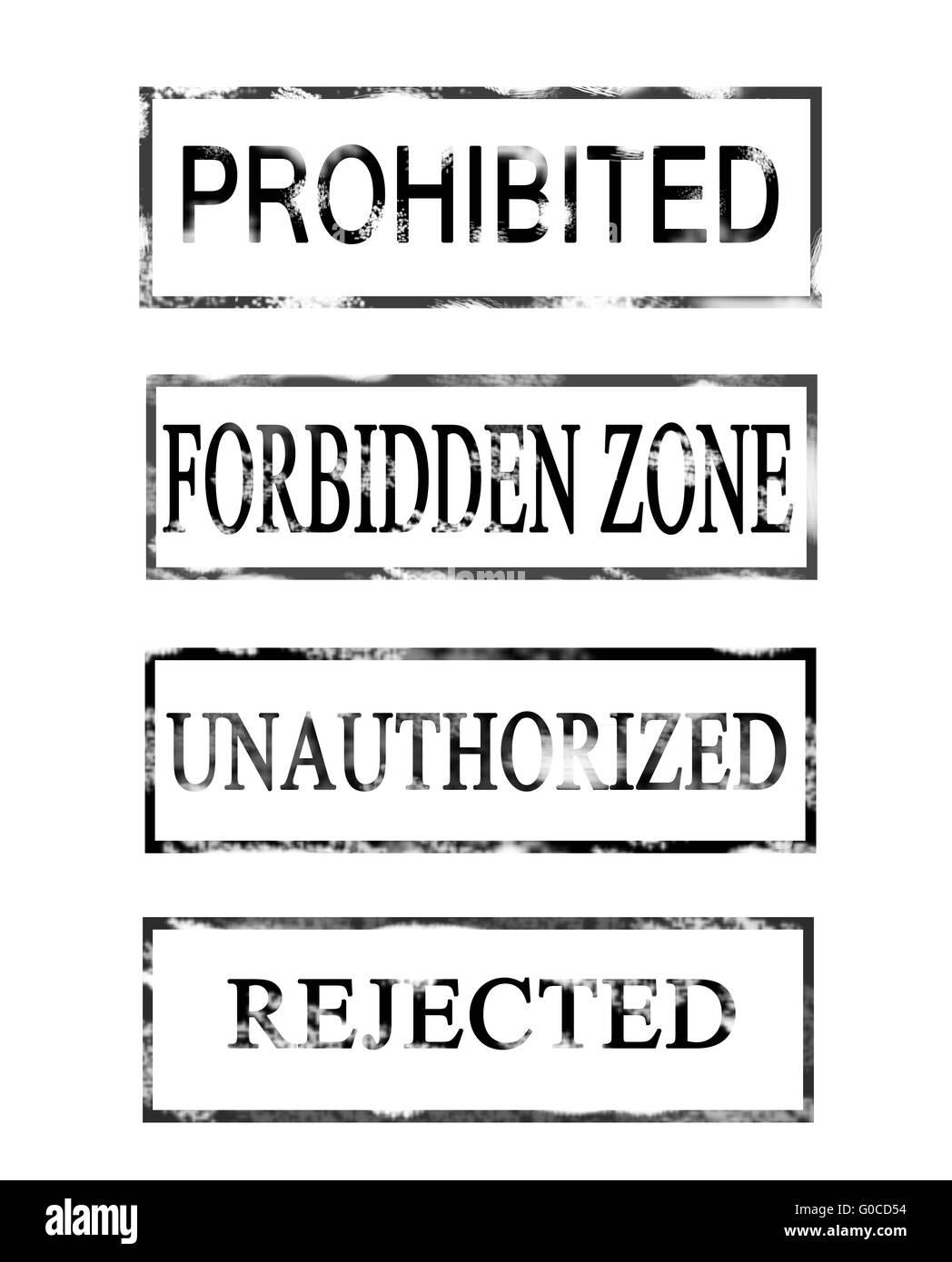 Mots interdits et forbbid rejeté non autorisée Photo Stock