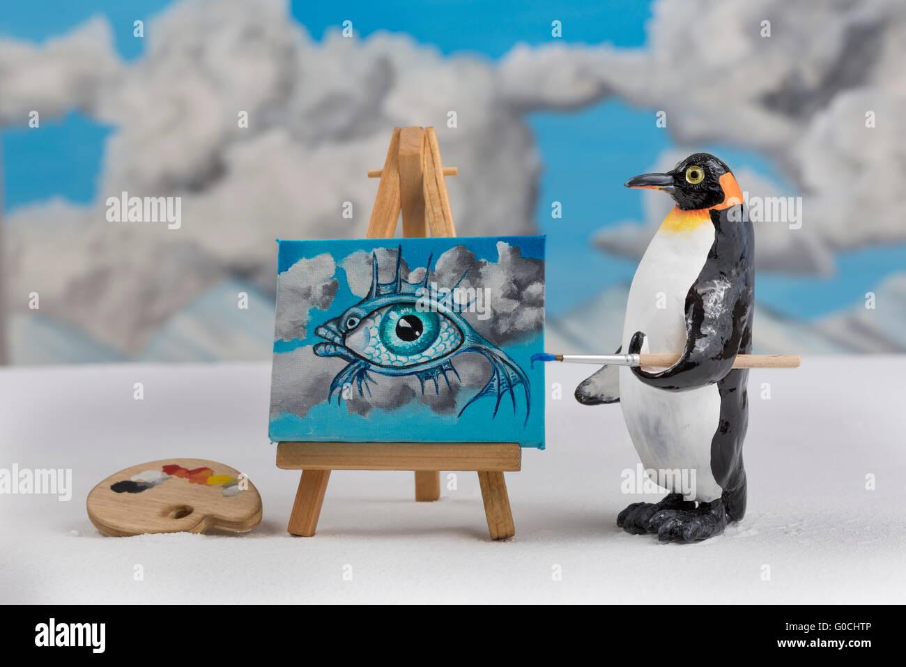 Modele D Une Peinture D Un Pingouin Poisson Surrealiste Avec Eye Et Scene Ciel Photo Stock Alamy