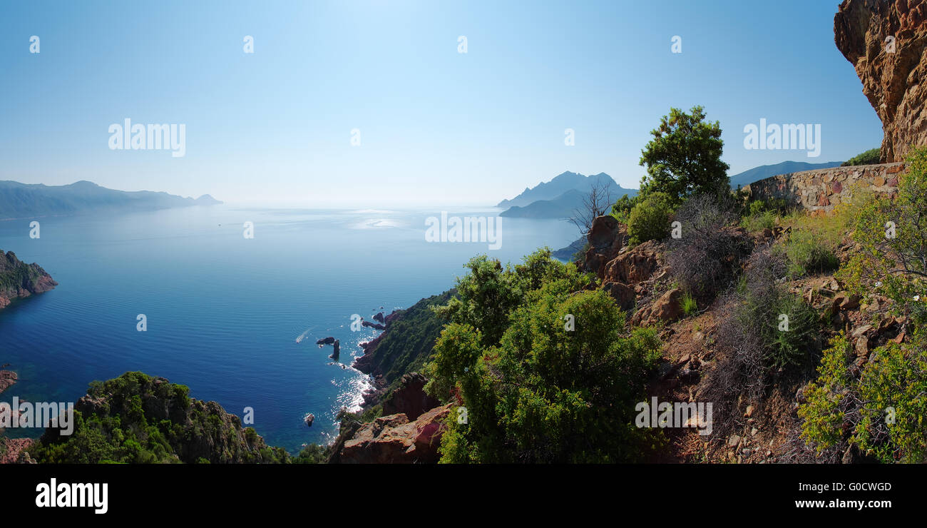 Vue panoramique sur le golfe de Porto - Corse Photo Stock
