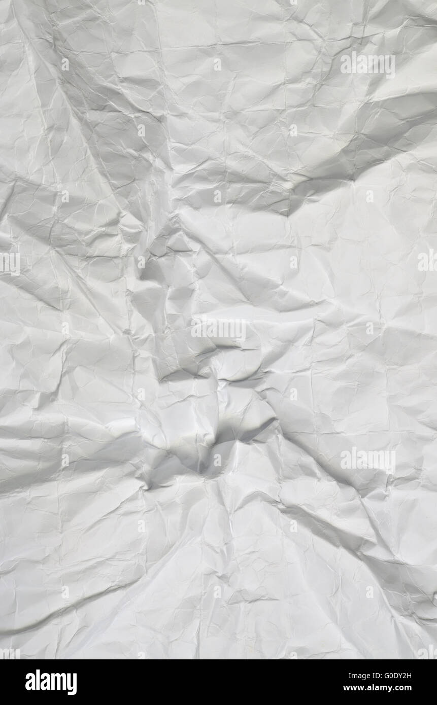 Gros plan d'une texture de papier blanc, plié, full frame, vertical Photo Stock