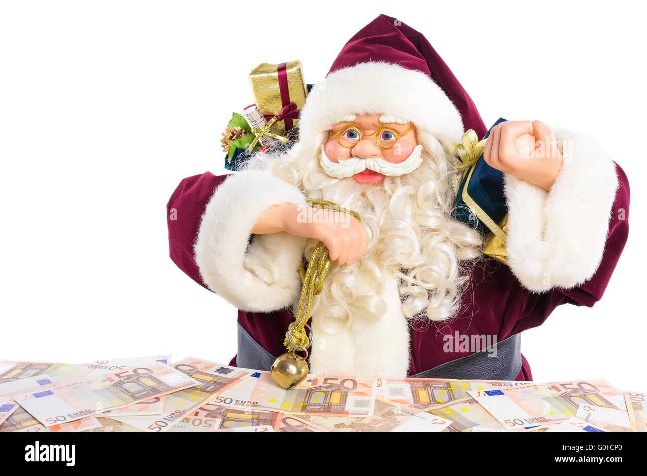 Modèle de Père Noël avec des cadeaux et de l'argent euro Photo Stock