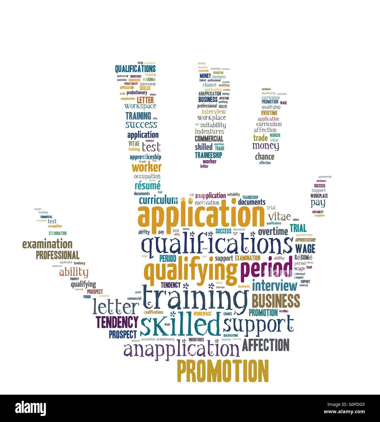 Cloud Word isolé - concepts relatifs à l'application et à la carrière Banque D'Images
