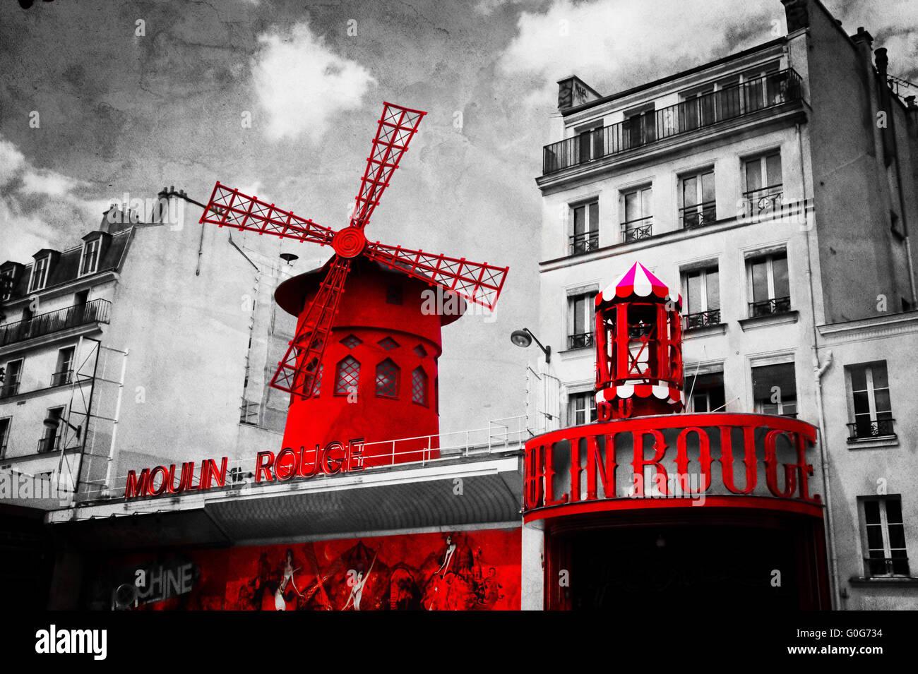 le moulin rouge vintage retro inscription en noir et blanc avec l ments rouge banque d 39 images. Black Bedroom Furniture Sets. Home Design Ideas