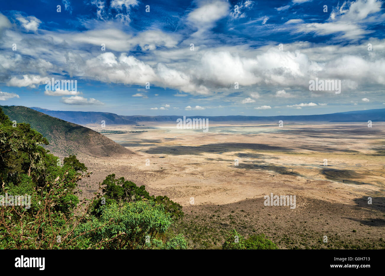 Vue depuis le bord dans le cratère du Ngorongoro, Ngorongoro Conservation Area, UNESCO World Heritage site, Photo Stock