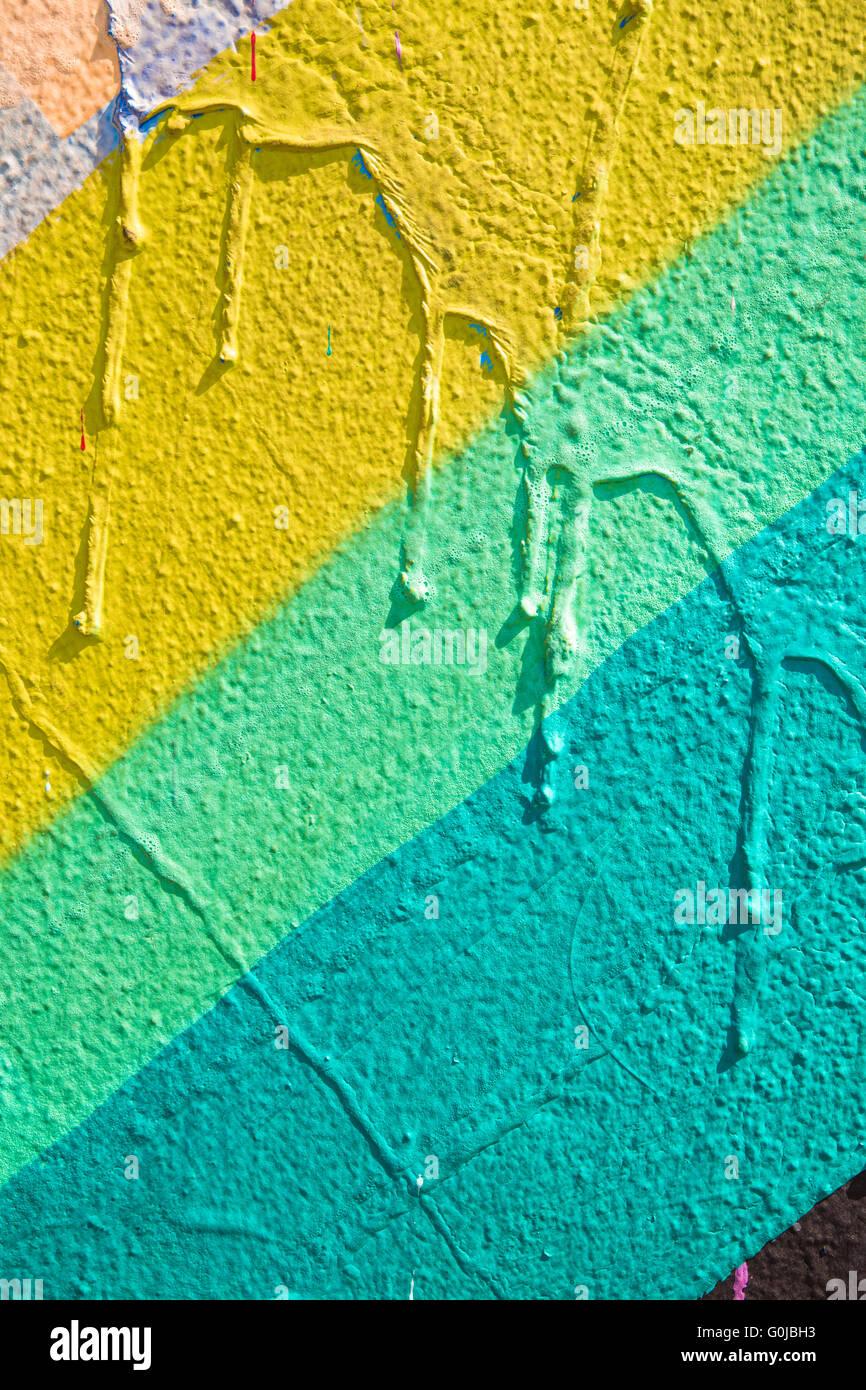 Mur De Couleur Avec Motif Peint Abstrait Et Coulures De